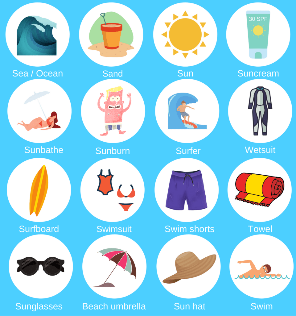 Beach basic English vocabulary: Sea, ocean, sand, sun, suncream, sunbathe, sunburn, surfer, wetsuit, surfboard, swimsuit, swim shorts, towel, sunglasses, beach umbrella, sun hat, swim