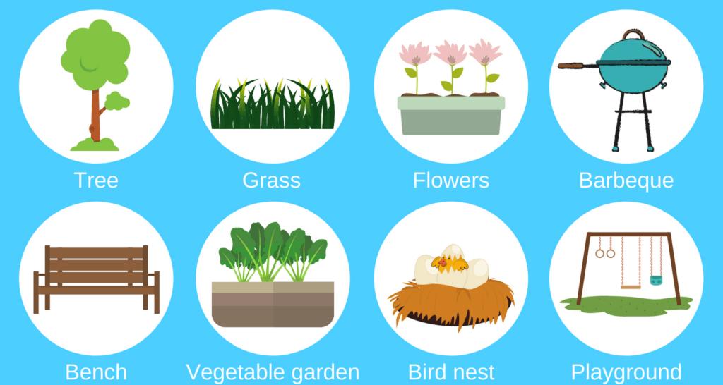 Garden items - Key words to help learn basic English. Tree, grass, flowers, barbecue, bench, vegetable garden, birds nest, playground.
