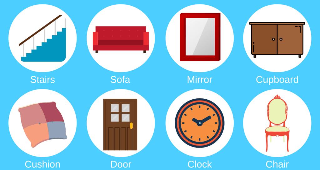 Household items - Key words to help learn basic English. Stairs, sofa, mirror, cupboard, cushion, door, clock, chair.
